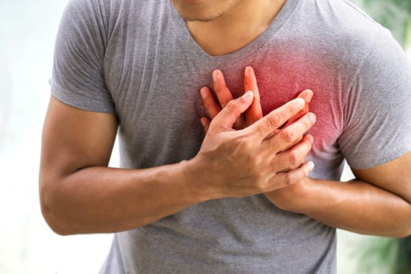 Internal organs bulge through the weak spot, and can become compressed, which can cause pain in the chest.