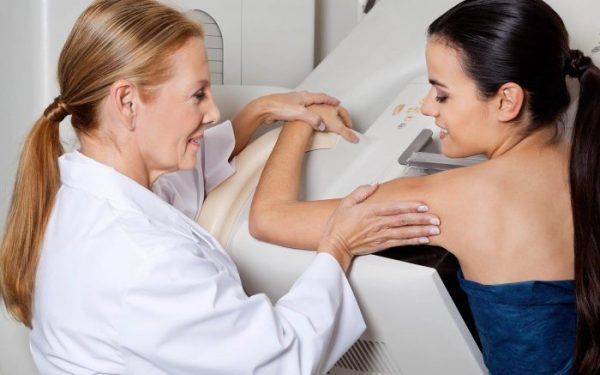 A mammogram is used to screen for or diagnose breast cancer.